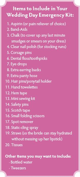 Wedding Day Emergency Kit    *As a wedding photographer, I cannot recommend this enough!! To make this even easier, appoint a trusted friend, bridesmaid, etc... to take care of putting this together for you.""