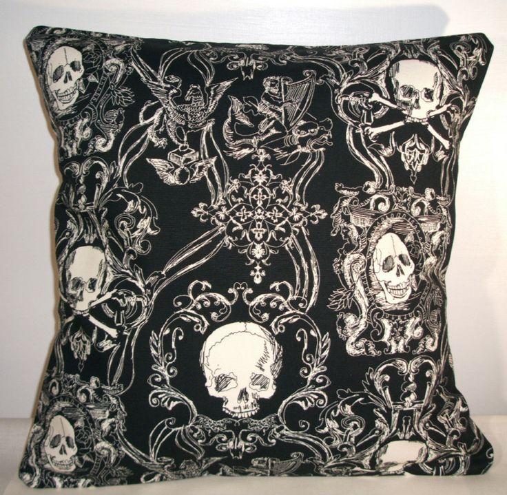 "New black toile skulls cushion cover 16""x16"""