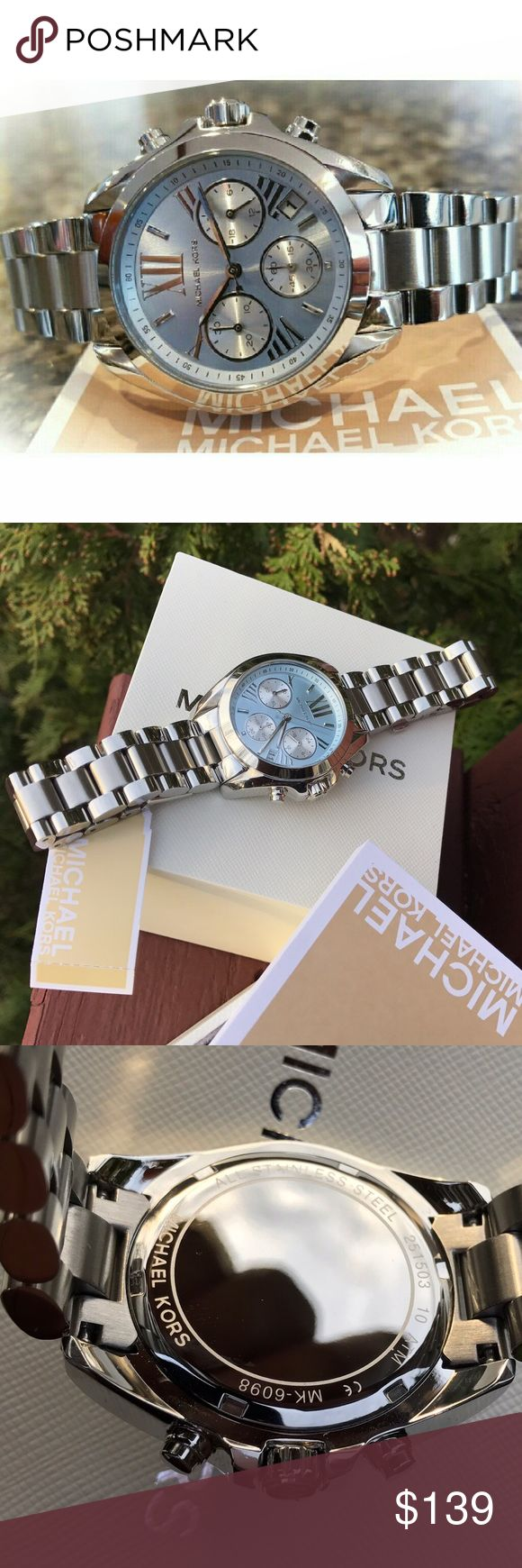 Michael Kors Bradshaw MK bracelet watch MK6098 Last 1! / Authentic MK6098 / Model: Bradshaw / Retail: $250 / Silver stainless steel band / New with Michael Kors watch box and owners booklet included / Blue chronograph dial / 36mm / 5 ATM / UPC: 796483140455 / No trades. Buy now or offer only / Shipped same business day. Michael Kors Accessories Watches