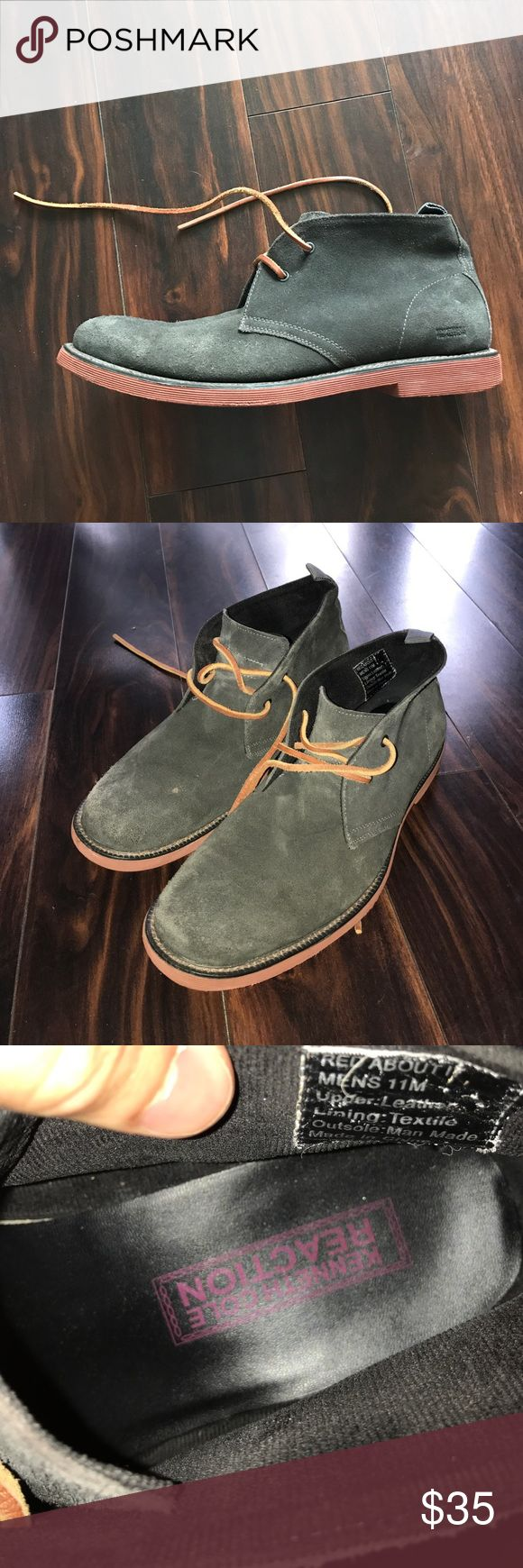 Men's Kenneth Cole reaction suede chukka Boots Lightly worn suede chukka boots. Size 11USM. Grey suede and terra-cotta sole and brown leather laces. Price is negotiable. Kenneth Cole Reaction Shoes Chukka Boots
