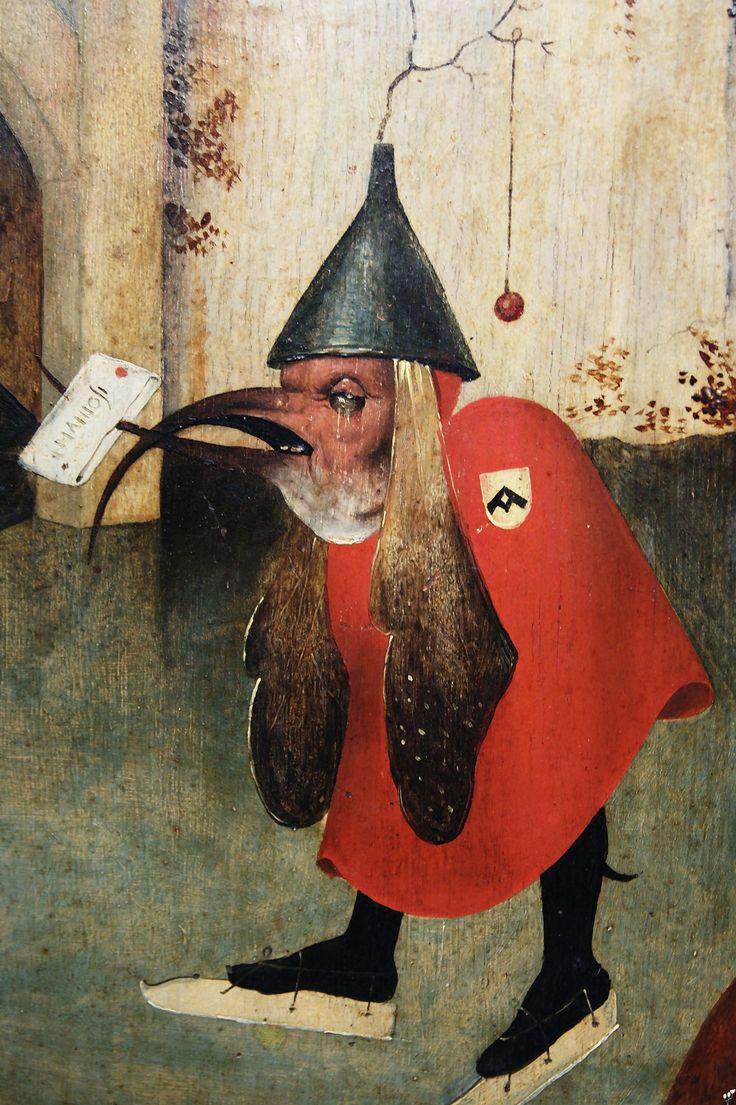 Musée des Beaux-Arts de Bruxelles, Jérôme Bosch, détail du triptyque de la tentation de saint Antoine. Antoine vivait en ermite dans le désert égyptien où il était harcelé par des diables et des démons. Ils incarnent l'ivrognerie, la gloutonne