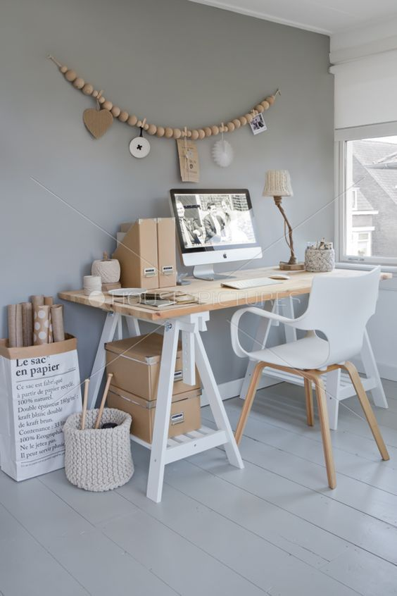 White and timber workspace. Love the mix of white, grey and light wood. Simple, modern shapes with a nearly mono chromatic color scheme.: