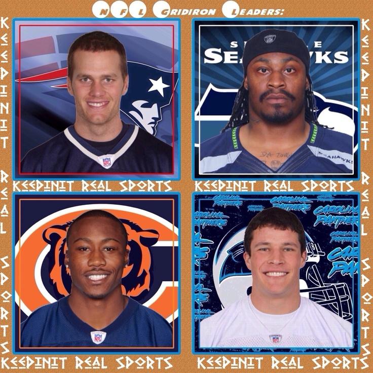 Keepinit Real NFL Stats: Week  14 NFL Gridiron Week Leaders  Passing - Tom Brady, NE - QB - 21 comp - 35 att/ 296 yds/ 4 tds Rushing - Marshawn Lynch, SEA - RB - 11 car/ 128 yds/ 3 tds Receiving - Brandon Marshall, CHI - WR - 10 rec/ 160 yds/ 1 td Defensive - Luke Kuechly, CAR - LB - 11 solo/ 5 ast/ 16 total