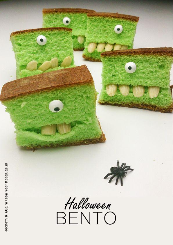 Enge groene knakkers - Moodkids | Moodkids  www.moodkids.nl/knutselen-halloween  #halloween #treat #bento