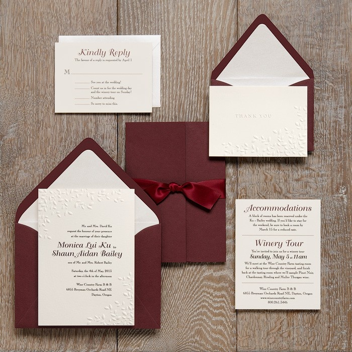 embossed leaves aubergine enclosure wedding invitation ideas paper source - Paper Source Wedding Invitations