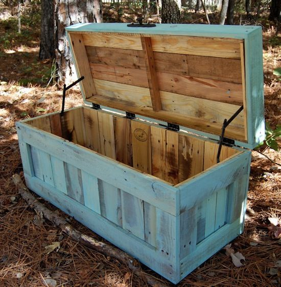 pallet hope chest; maybe a longer wooden chest like this for a porch table?