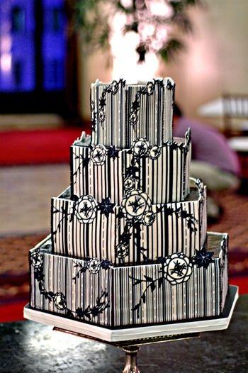 black and gold art deco cakes   Black & White Art Deco Hexagon Wedding Cake   Wedding