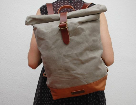 waxed Canvas Backpack, light grey color, hand waxed , with handles, leather base and closures