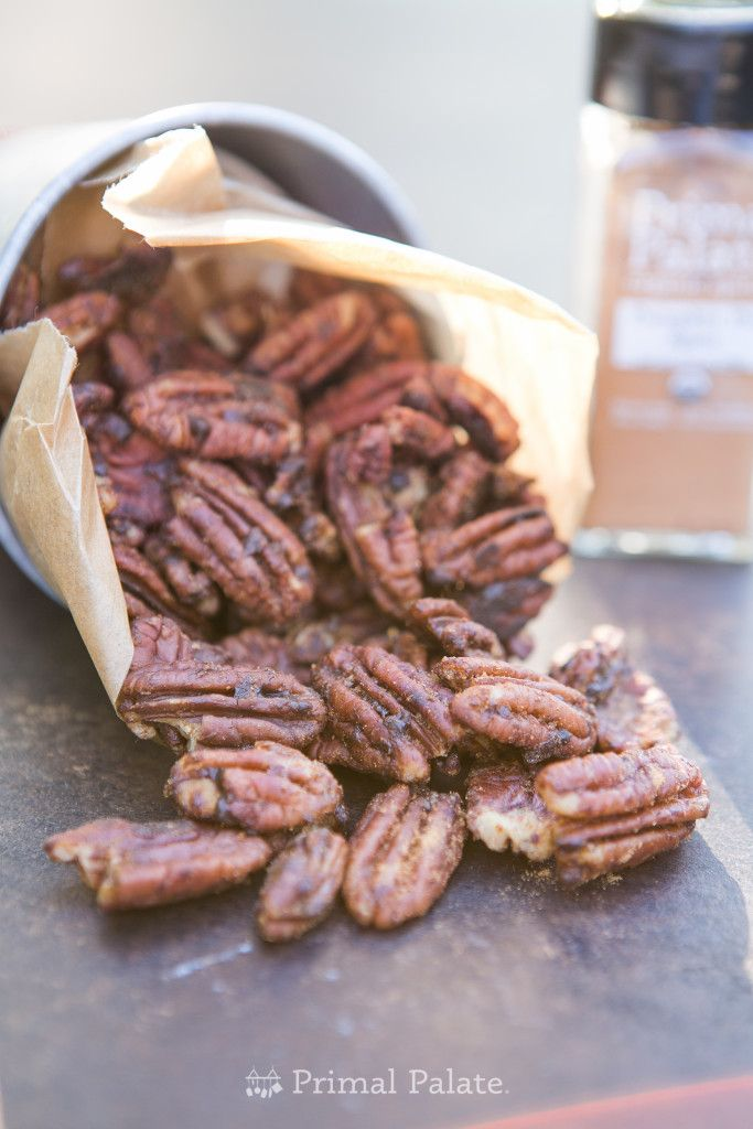 Pumpkin Spice Pecans 7 oz Pecans 3 Tbsp Unsalted Butter 3 Tbsp Coconut Sugar 1 1/2 tsp Primal Palate Pumpkin Pie Spice 1 Tbsp Water