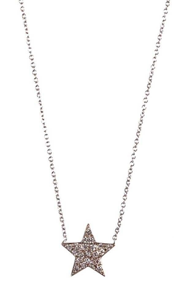 "Jennifer Meyer pave diamond and white gold star pendant necklace. 18k white gold pendant, 14k white gold cable chain. 16"" length, approximately; pendant: 12mm drop, approximately. Spring ring clasp. Made in U.S."