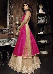 Party Wear Silk Pink Antique Work Gown