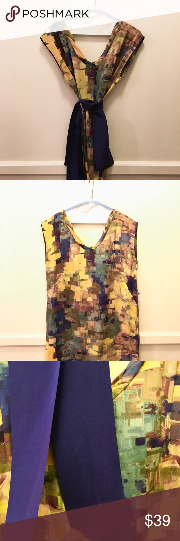 """Anthropologie Maeve dress 100% silk dress in watercolor block pattern with indigo sash. Incredibly flattering mini, size 4. Worn once, impeccable condition. Worn by 5'7"""" and 130 lbs, curvy figure. Anthropologie Dresses Mini"""