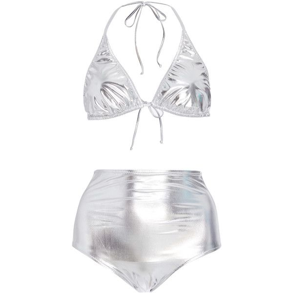 Silver Hot Pants Bikini | Moda Operandi ($470) ❤ liked on Polyvore featuring swimwear, bikinis, high waisted bikini, high waisted triangle bikini, highwaist bikini, metallic swimwear and silver bikini