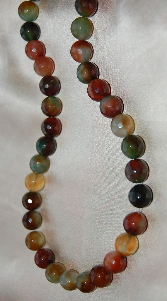 Gorgeous multi colored one of a kind agate stone beaded by Elaquin, $62.00Multi Colors, Kind Agates, Agates Stones, Gorgeous Multi, Stones Beads