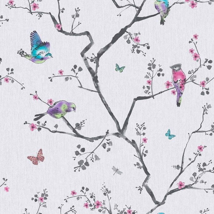 Create a room of tranquillity with this stunning oriental design. The soft lilac colour pallet turns any room into your very own boudoir.