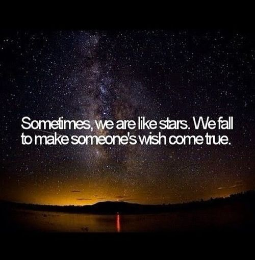 Life Quotes - 291 Sometimes we are like stars, we fall to make someone's wish come true.