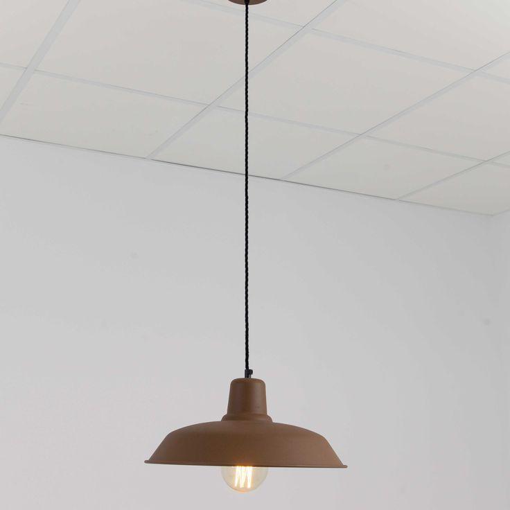 Lámpara colgante campana industrial marrón óxido 40cm