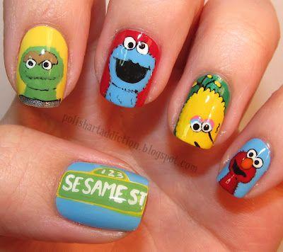 Sesame Street nails by Polish Art Addiction.