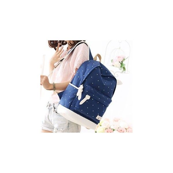 Dotted Canvas Backpack ($30) ❤ liked on Polyvore featuring bags, backpacks, accessories, backpack bags, canvas rucksack, blue polka dot backpack, blue canvas backpack and blue backpack
