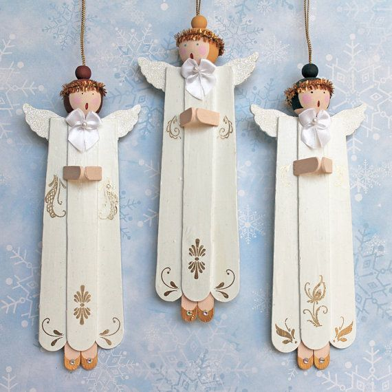 Angel Choir Christmas Ornaments . OOAK Tree Decoration . Popsicle Stick Angels . Craft Stick Ornaments . Singing Praying Angels . Set of 3