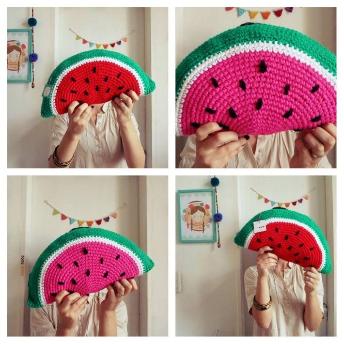 Almohadón Sandía tejido al crochet