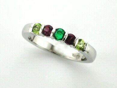 'SOFIE' --  Pretty Family Ring Celebrating January, May & August Birthdays  Custom made in 14ct White gold with Garnet, Emerald & Peridot.