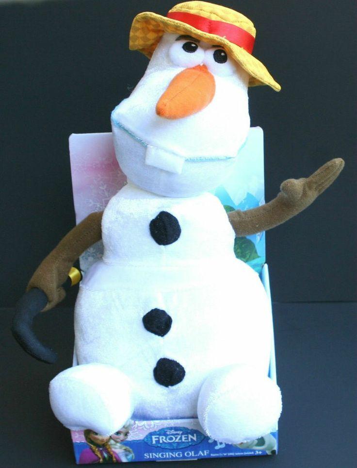 Disney Singing Olaf Plush Frozen Snowman Cane Hat New In
