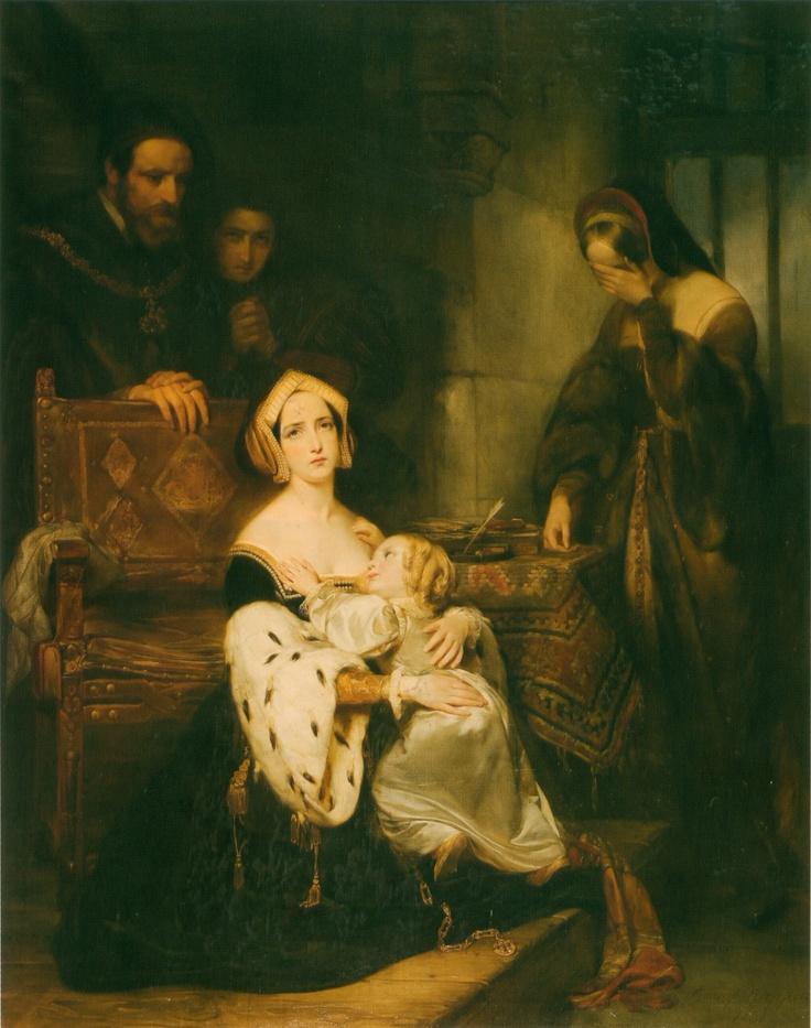 Anne Boleyn saying farewell to her daughter Elizabeth.