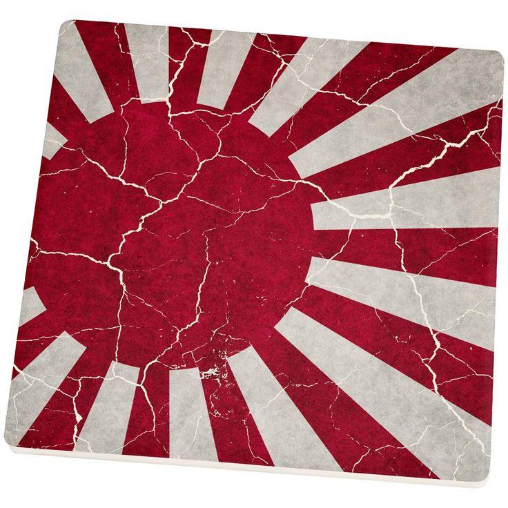 Distressed Japanese Rising Sun Flag Set of 4 Square Sandstone Coasters