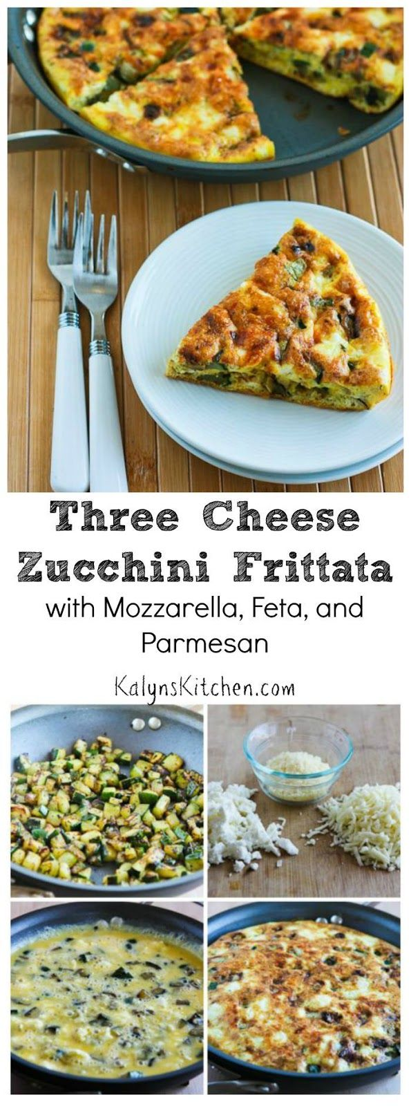 When you're trying to think of a way to use zucchini, this Three Cheese Zucchini Frittata with Mozzarella, Feta, and Parmesan is delicious for a healthy meal any time of day. And this tasty zucchini frittata is  Low-Carb, Gluten-Free, Meatless, and South Beach Diet friendly. [from KalynsKitchen.com]: