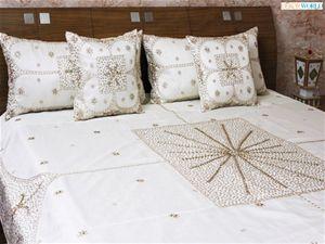 Buy Online Dekorworld Hand Beaded Wedding Bedsheet.