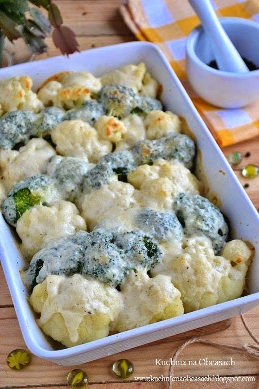 Brokuły i kalafior zapiekane pod beszamelem