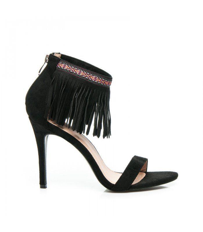 Čierne boho sandále 628-126B