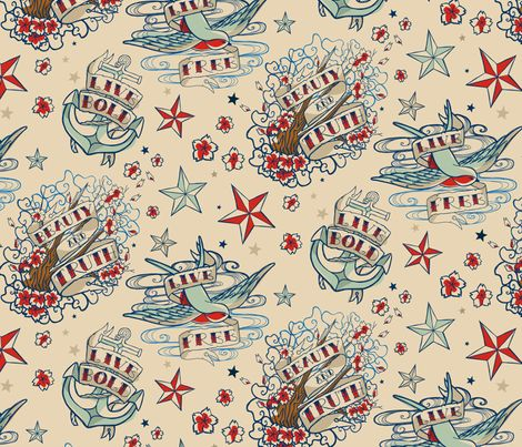 Oh I'm buying this!!!!   Seven SeasTattoo fabric by urban_threads on Spoonflower - custom fabric