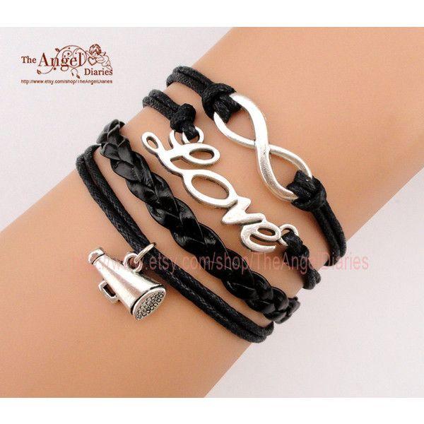 Infinity, Love, MEGAPHONE Charm Bracelet, Cheerleader , Cheer Symbol,... (19 BRL) ❤ liked on Polyvore featuring jewelry, bracelets, accessories, joyas, infinity bangle, bracelet bangle, charm bracelet, charm bracelet jewelry e graduation bracelet