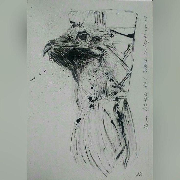 Máscara Yakuithatho - Amazonas Pássaro: Mãe-da-lua (Nyctibius griseus) . #02 #inktober #inktober2017 #brasil #brazil #art #artistworkout #illustration #instaartist #artoftheday #sketchbook #creative #artwork #portraits