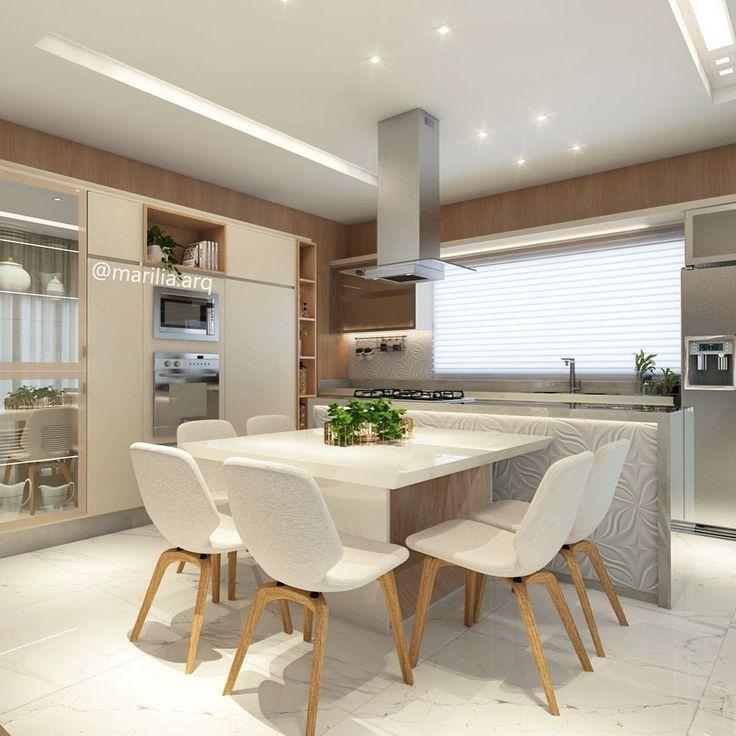 """4,368 curtidas, 102 comentários - Marília Zimmermann (@marilia.arq) no Instagram: """"Cozinha Integrada   Integrar a cozinha com outros ambientes da casa é um recurso que propicia o…"""""""