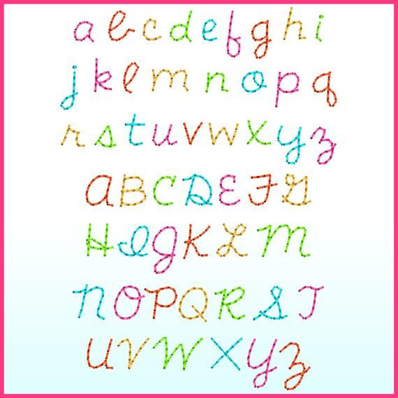 Stitchy Cursive Font With Numbers And Punctuation 1 Inch 1 25 Inches 1 5 Inches Released September 2018 Manually Digiti