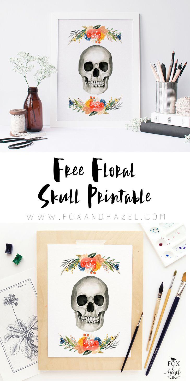 Free Floral Skull Printable / Fox & Hazel