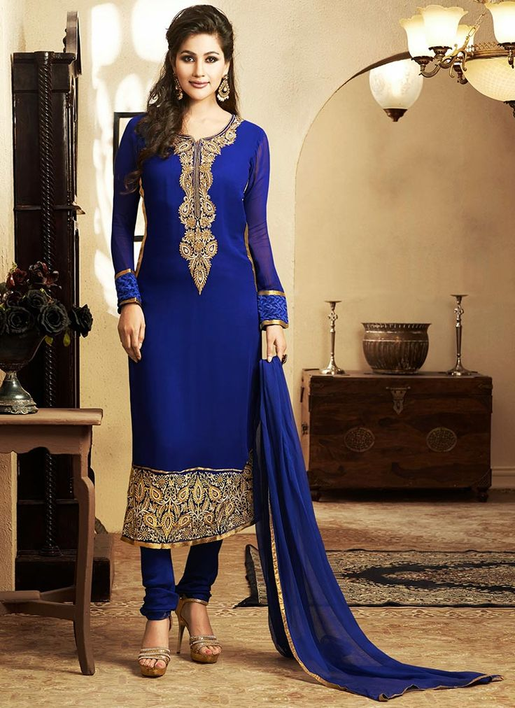 Trendy Blue Georgette Churidar Suit this style suits the mother of the bride,