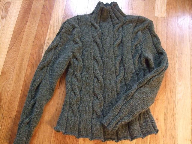 "Ravelry: mustbeknitting's cable sweater:  Kim Hargreaves ""Heather Sweater"" pattern."