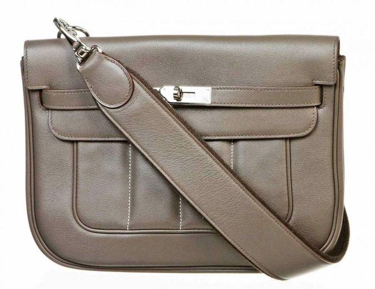 Hermes Sac Berline 28cm Etain Swift Leather Messenger Handbag ...