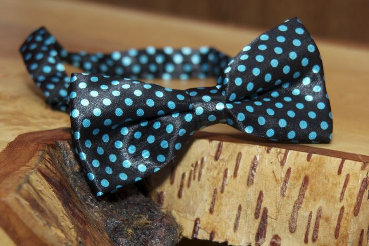 Satin black and turquoise polka dotted bowtie