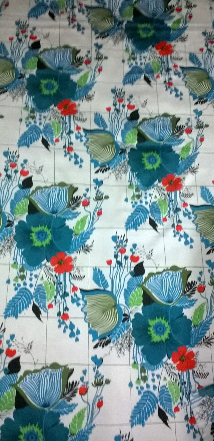 Vintage fabric remnant ,satin lining,blue and turquise flowers ,red poppies by stitchmilitz on Etsy