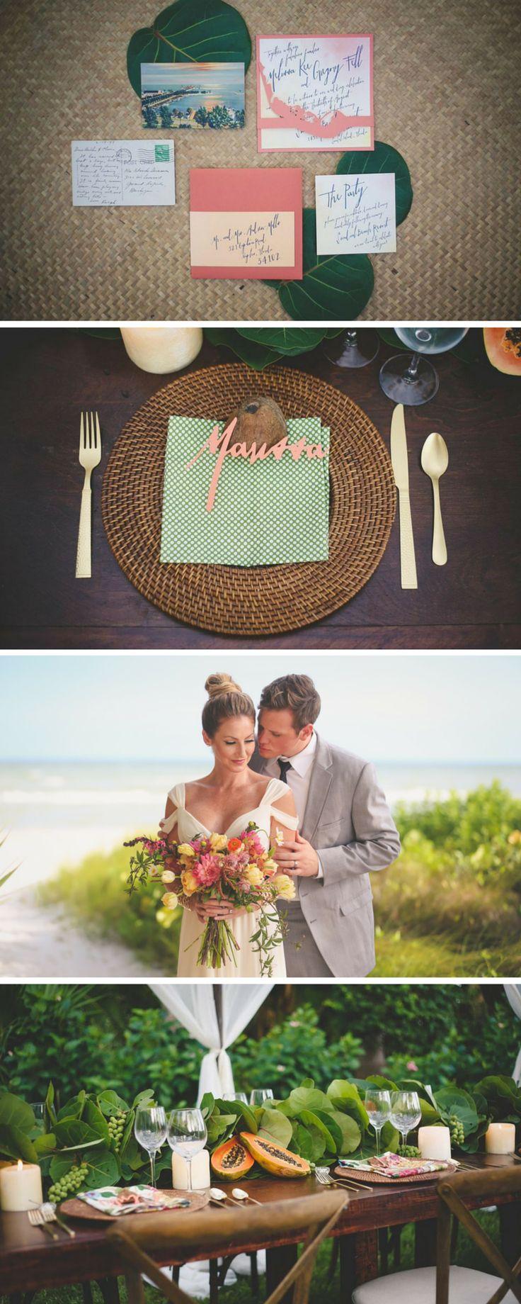 Coastal Wedding Invitation with a Tahitian-style theme - Sundial Beach Resort & Spa - Beach Wedding Invites | Sanibel Island Wedding