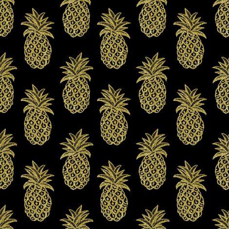 #GoldPineapple #pineapplefabric #goldpineapplefabric #goldpineapplewallpaper / Gold Pineapples fabric by magentarosedesigns on Spoonflower - custom fabric