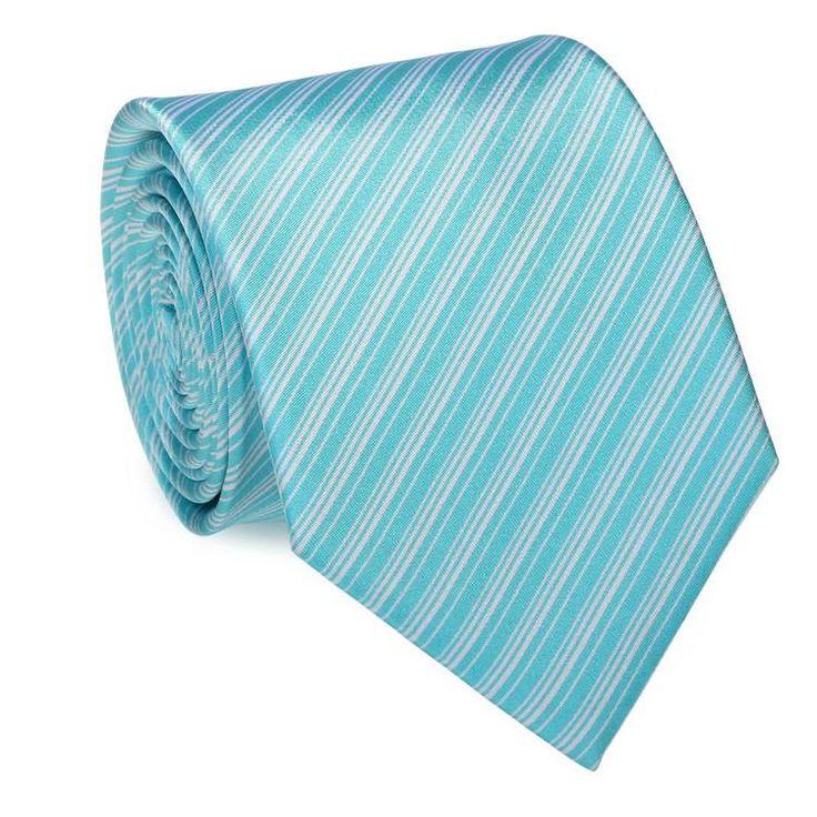 New- Tiffany Blue and White Stripe Wedding Tie Set JPM18A64 - Toramon Necktie Company