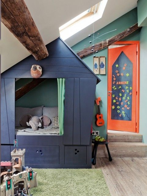 using angled ceiling for playhouse.