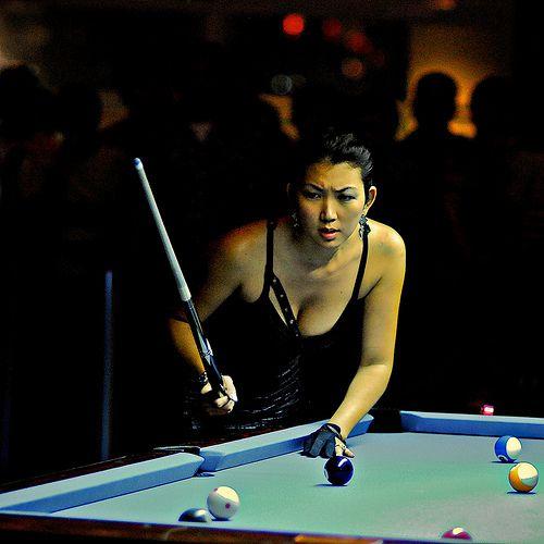 Professional boob pool player