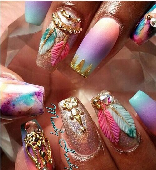 Absolutely LOVE these tie-dye nail designs w/ pink, purple, turquoise, &  gold colors - Best 25+ 3d Nail Art Ideas On Pinterest Xmas Nails, Grey
